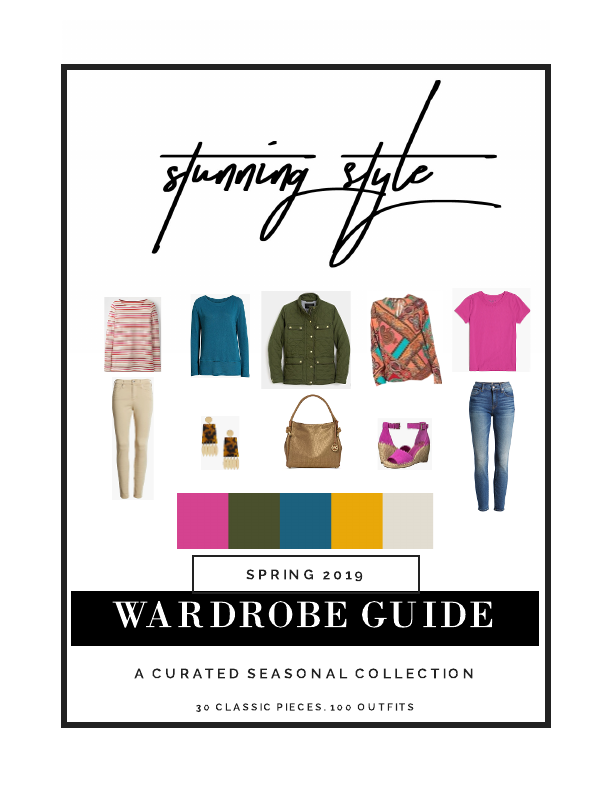 Check out the Rich Warm Shades Spring 2019 Wardrobe Guide by Stunning Style! A curated capsule wardrobe with 30 classic pieces, 100 outfit combinations, all the shopping links you need, and more!