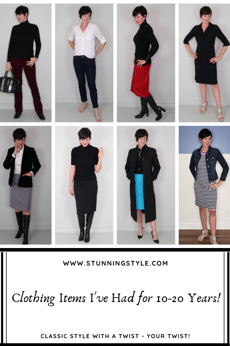 I've had certain clothing pieces in my wardrobe for 10, 15, and even 20 years. I've worn them consistently because they are so classic in style. Come see what to look for and what to avoid when buying classic pieces you want to keep for years, and what to avoid as we talk about classic versus trendy. I'm also sharing the items I've had for a decade or more that have truly stood the test of time!