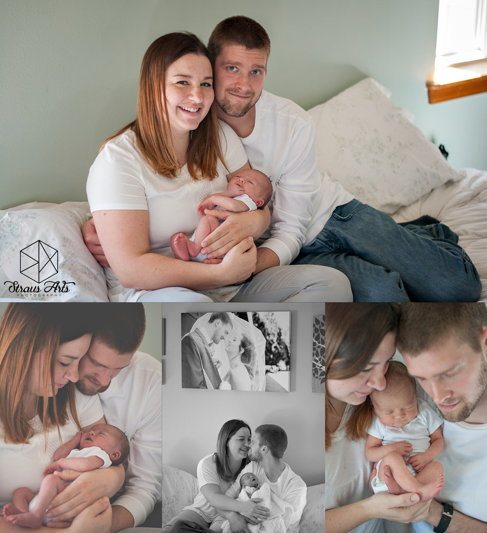 Straus Arts Photography: Lifestyle Newborns.  Sweet little Haze and her new family.
