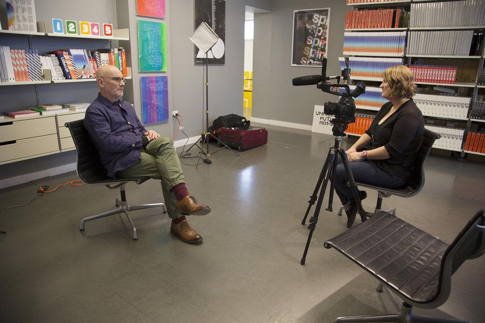Briar interviewing designer Adrian Shaughnessy