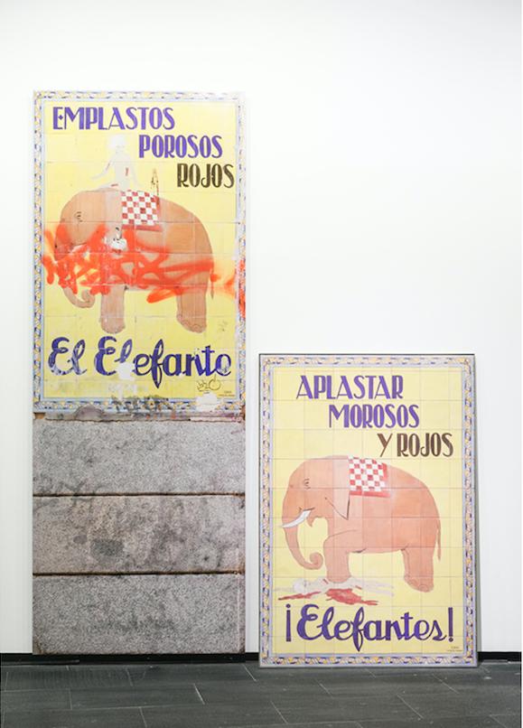 Cerámicas porno-indignadas (¡Elefantes!), 2014, Diptych. (Photo: Guerrero-Projects)