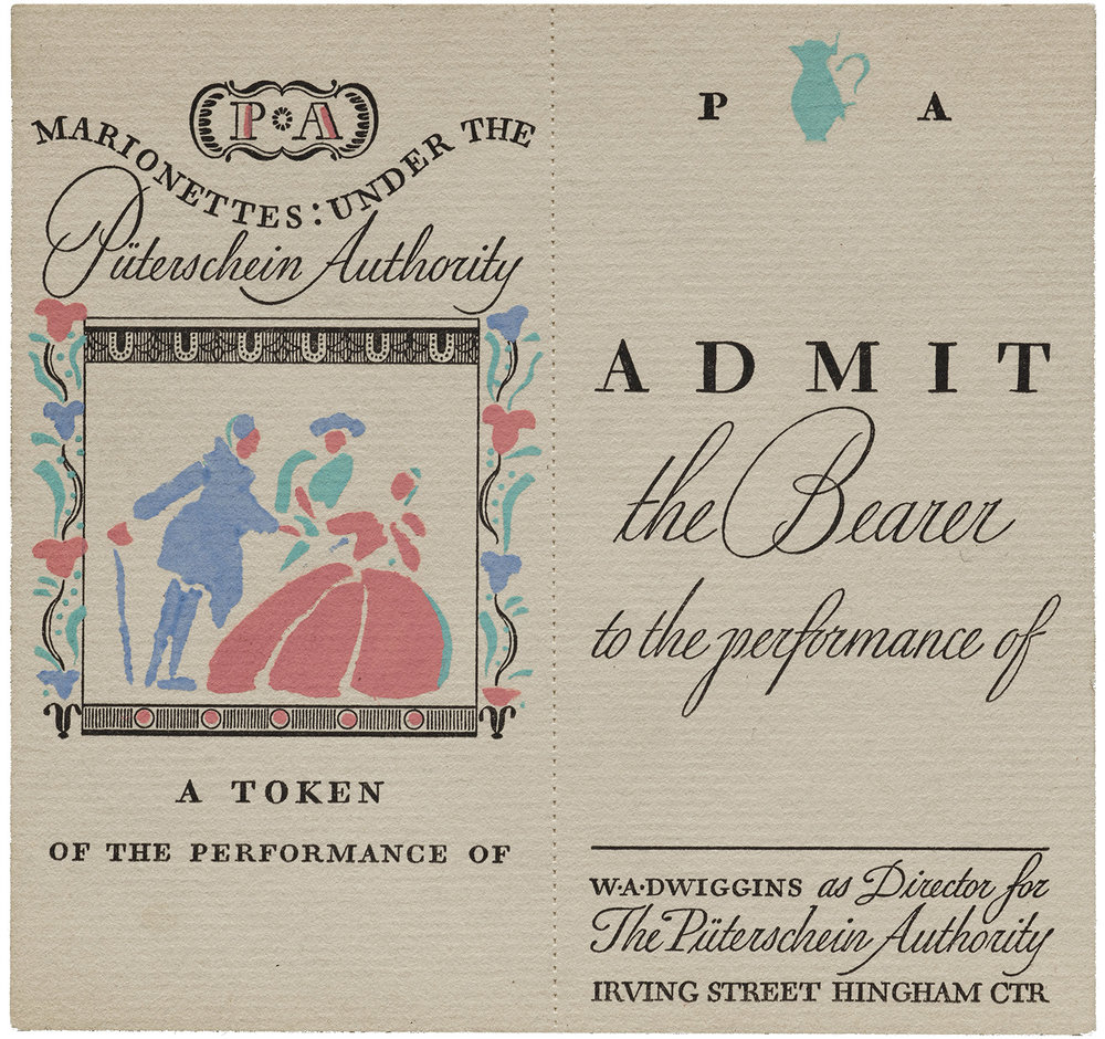 Dwiggins-designed and printed theater ticket, ca. 1937. Color applied by hand via stencil. Collection of Letterform Archive.