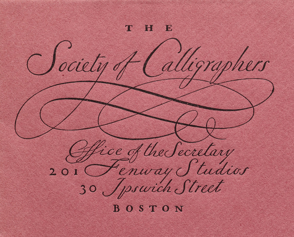 Detail of stationery for the Society of Calligraphers, ca. 1922. Collection of Letterform Archive.