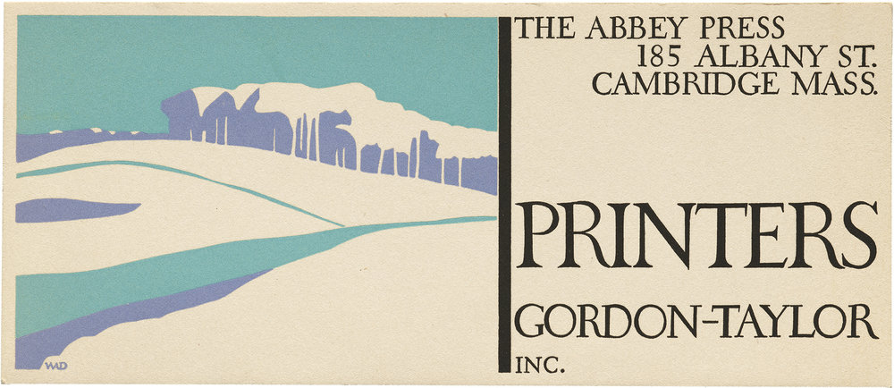 Blotter for Abbey Press, ca. 1930s. Collection of Letterform Archive.