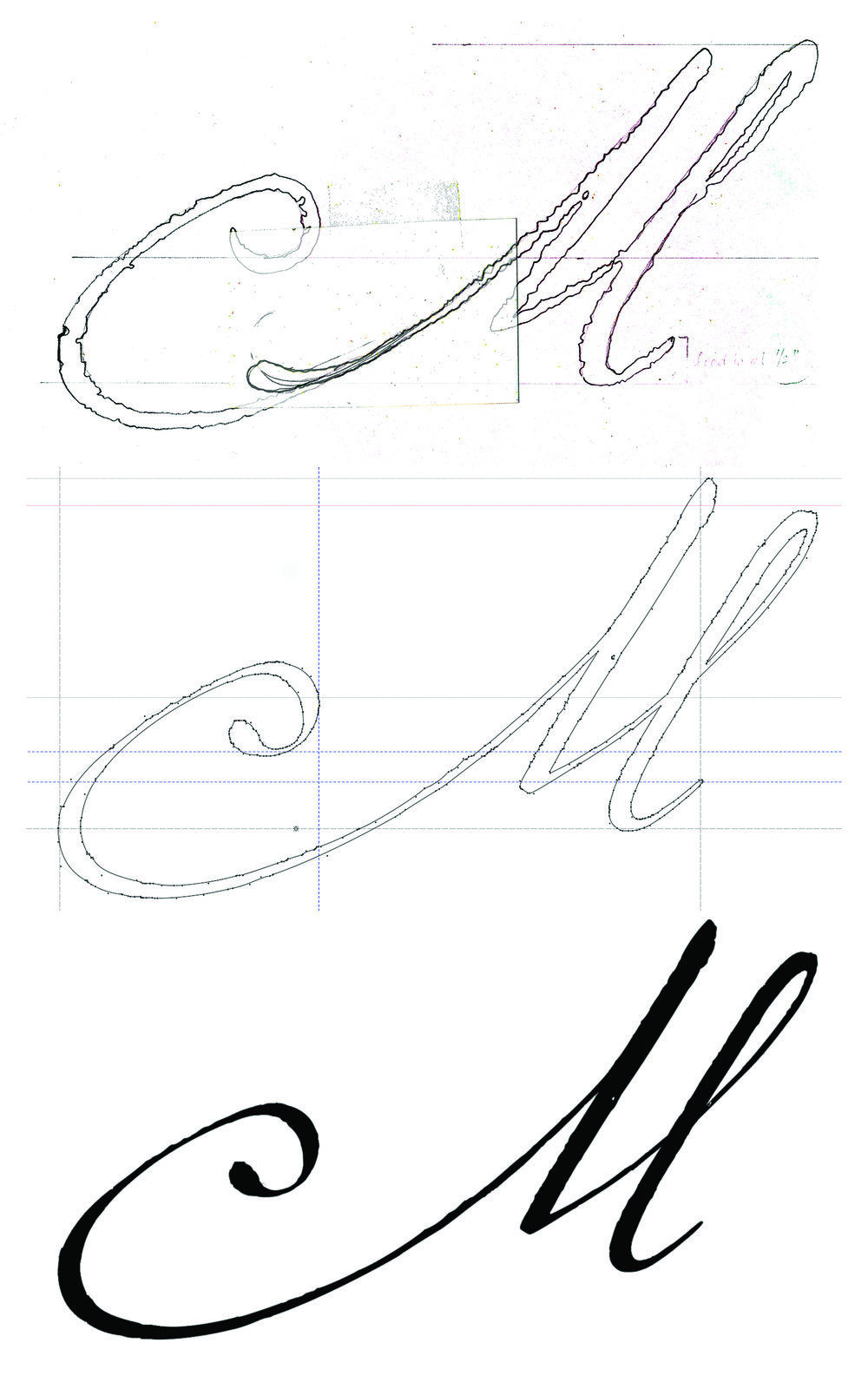 A tracing of an initial M from one of the letters, a screen grab of the font in progress, and the final glyph from the font, Marcel. [Images courtesy Carolyn Porter]