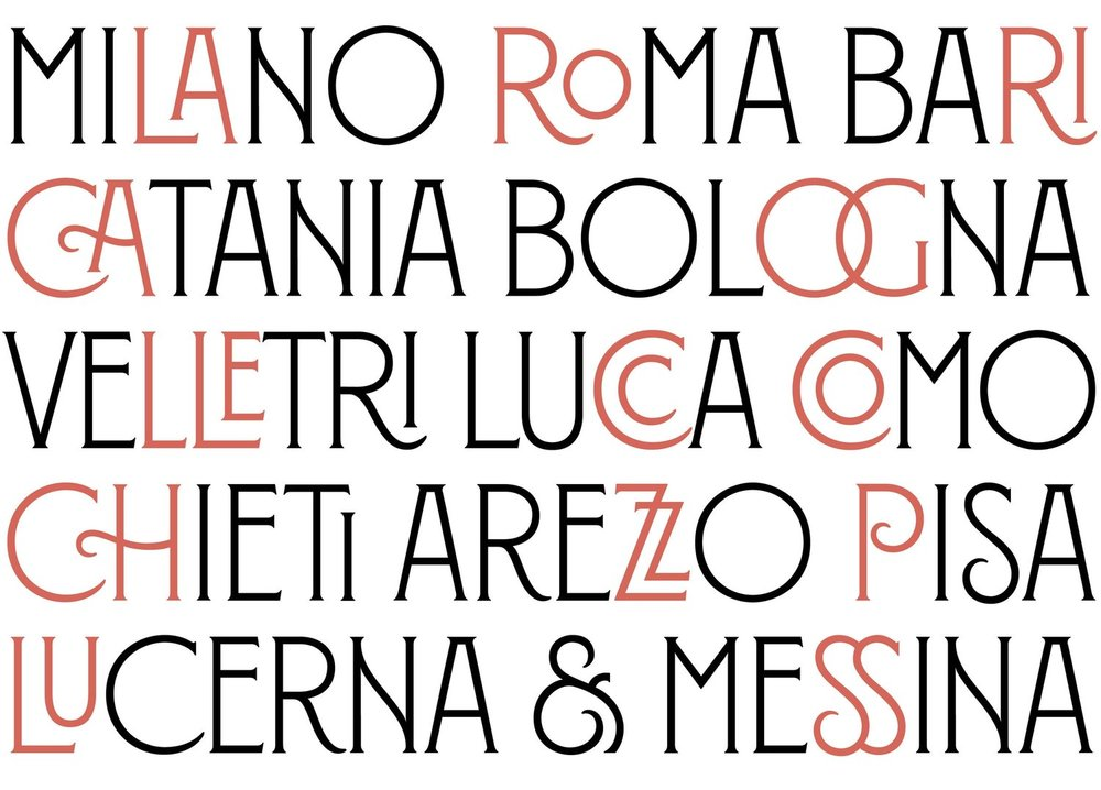 Ligatures in the Montecatini font.