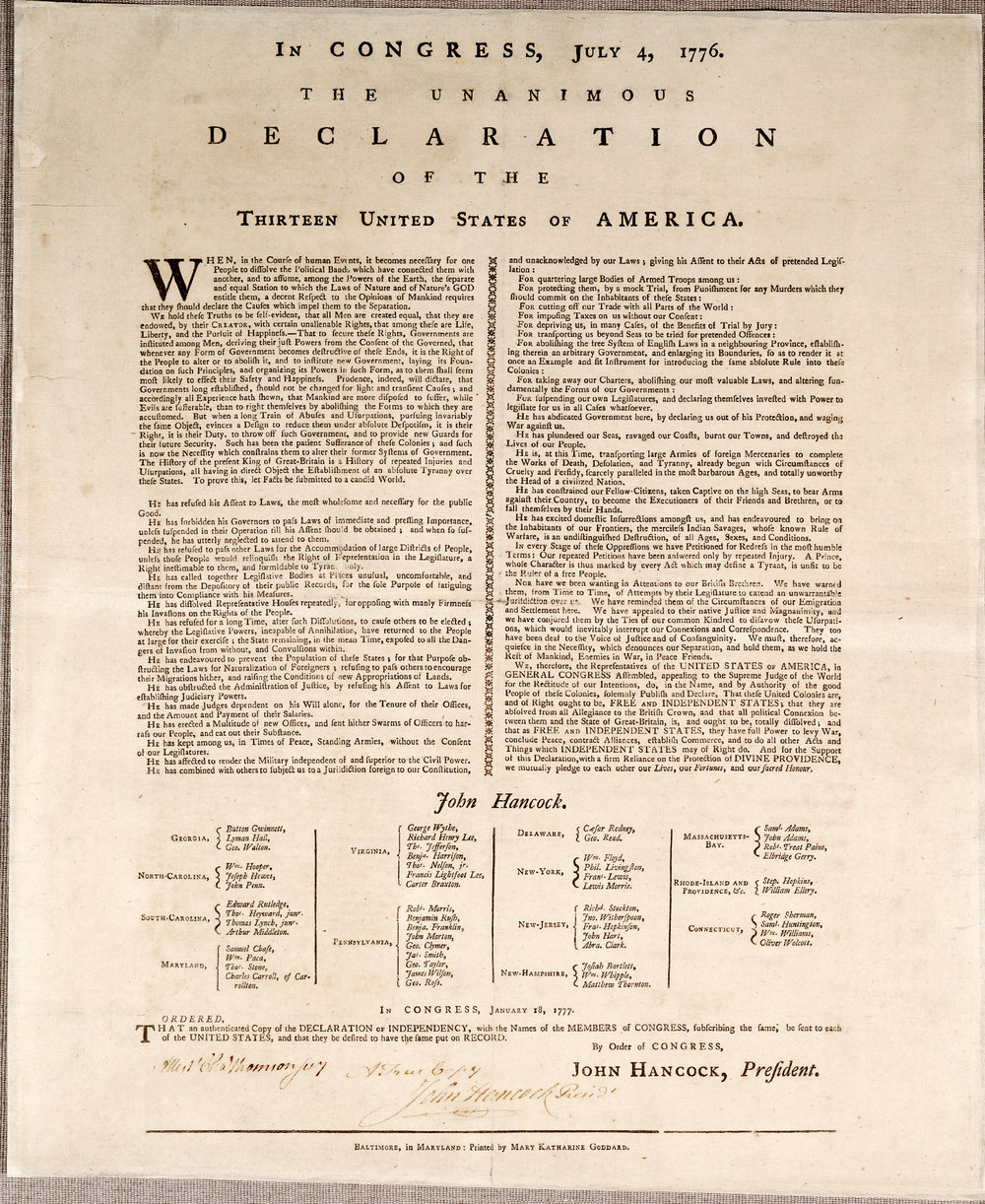 The Goddard broadside, 1777 . [Library of Congress]