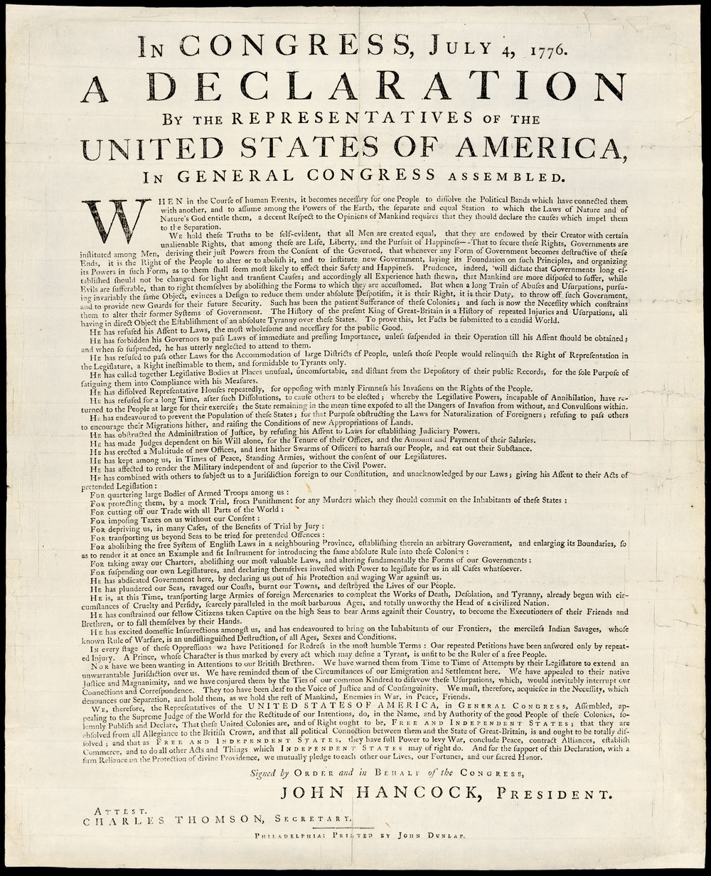 The Dunlap broadside printed and signed by John Dunlap, July 1776. Press run: 200. [Library of Congress]