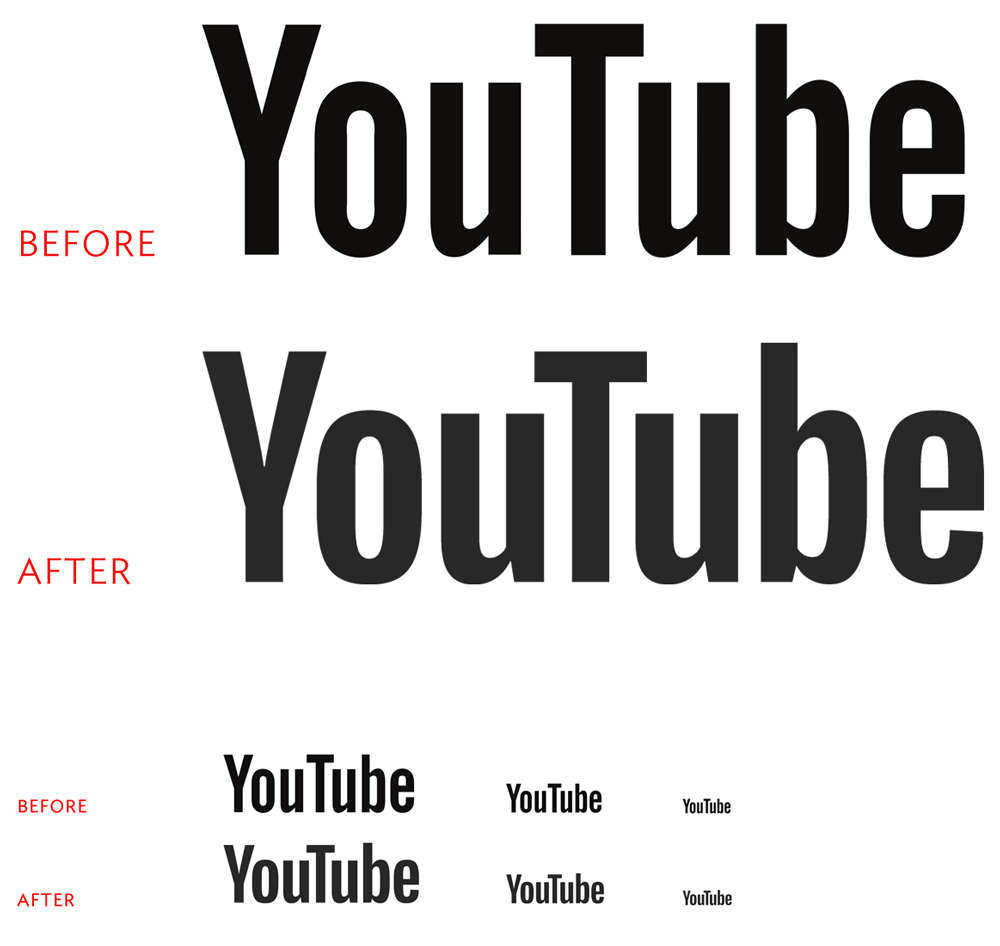 Before and after versions of YouTube's logotype. Courtesy  Brand New .
