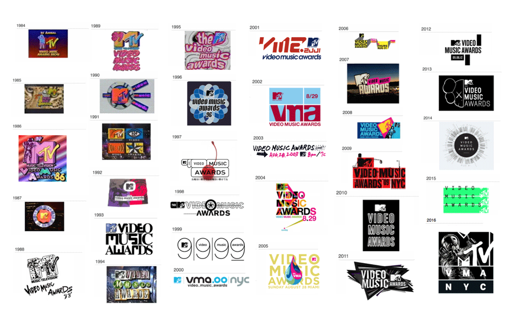 Previous VMAs logos, compiled by  Brand New .
