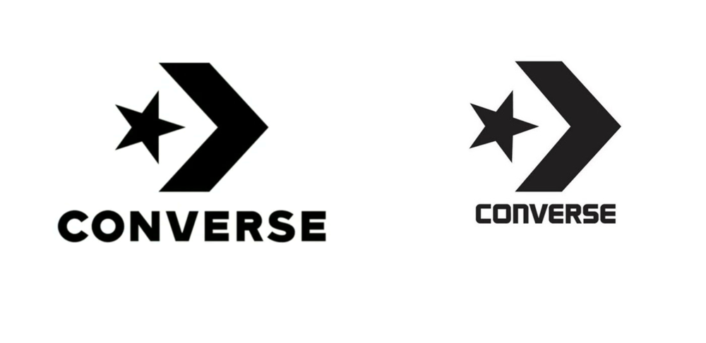 Star-and-chevron trademarks: New (left) and old.