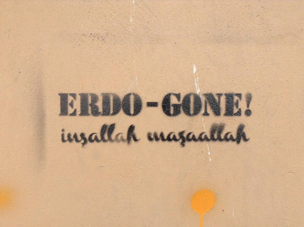 The graffiti which inspired Galata's  Erdo-gone  protest feature