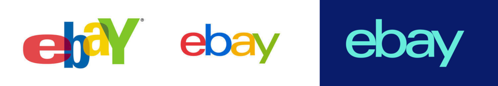 eBay's original logo (left), 2012 logo (middle), and new logo (right)