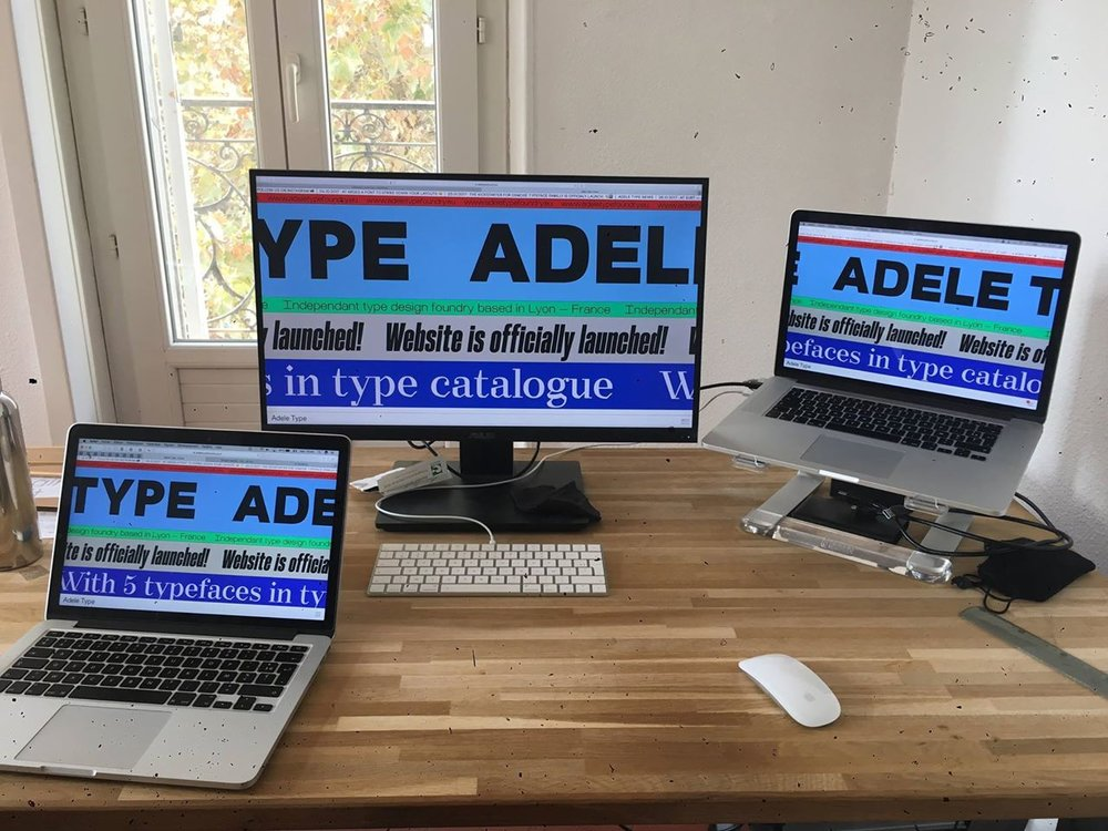 Adele Type's homepage across devices.