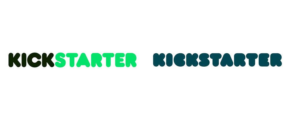 Kickstarter's old logo (left) and new logo (right)