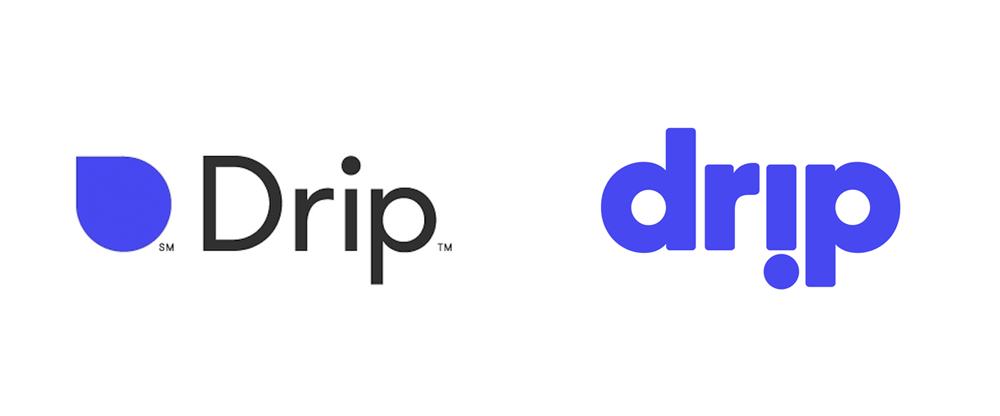 Drip's old logo (left) and new logo (right)