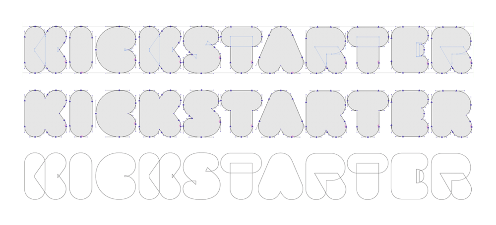 Kickstarter's new logo construction, designed by  Jesse Ragan