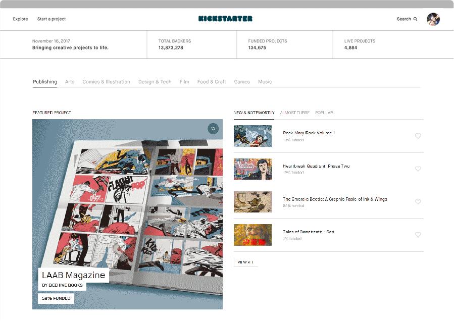 Kickstarter's new website