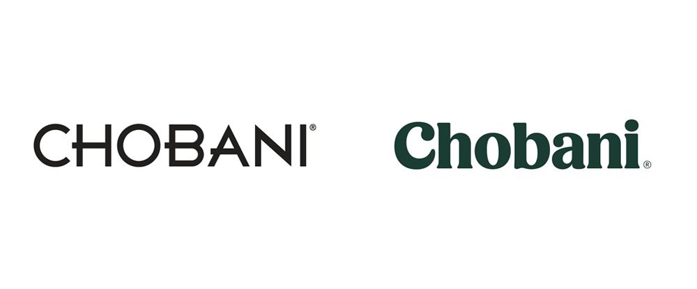 Chobani's old logo (left) and new logo (right)