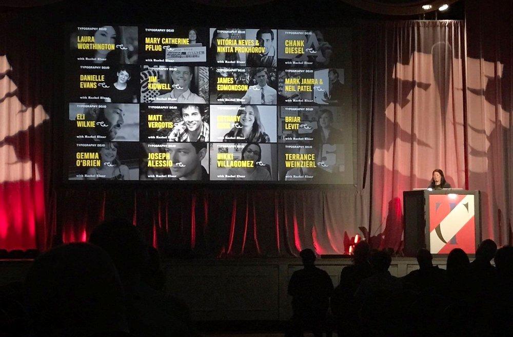 Rachel Elnar on stage at TypeCon 2017.