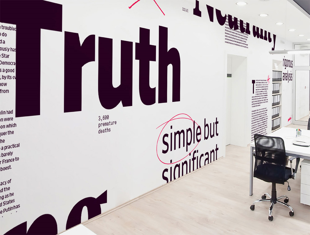 Office wall graphics.