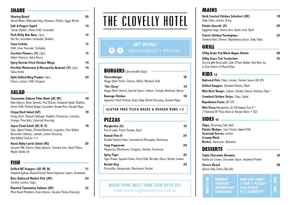 Clovelly Food Menu