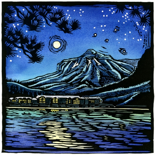 Many Glacier Lodge: Into the Light.   Original hand-painted woodblock print.  Limited edition of 100. $300 each, $800 for series of all three prints.