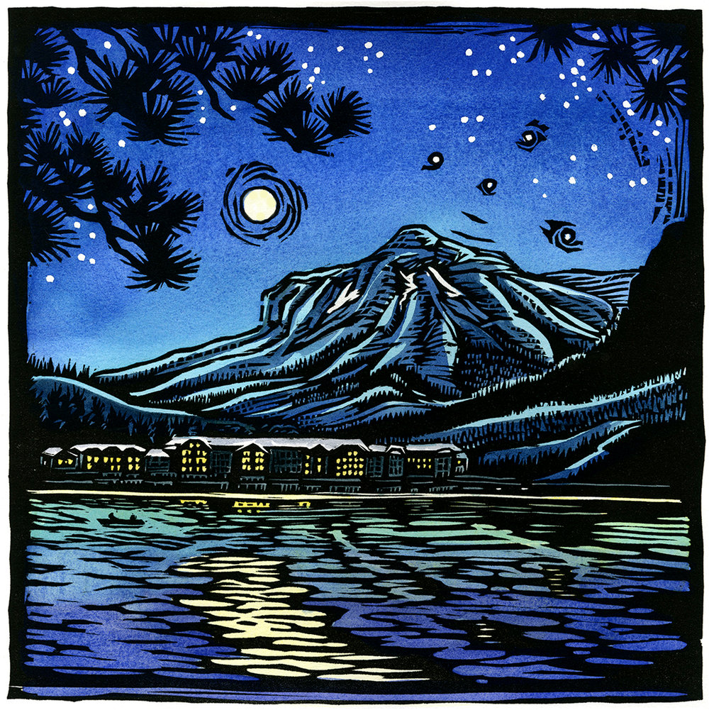 "Into the Light: Many Glacier Lodge (12""x12"") Limited edition of 100 hand-colored woodblock print"