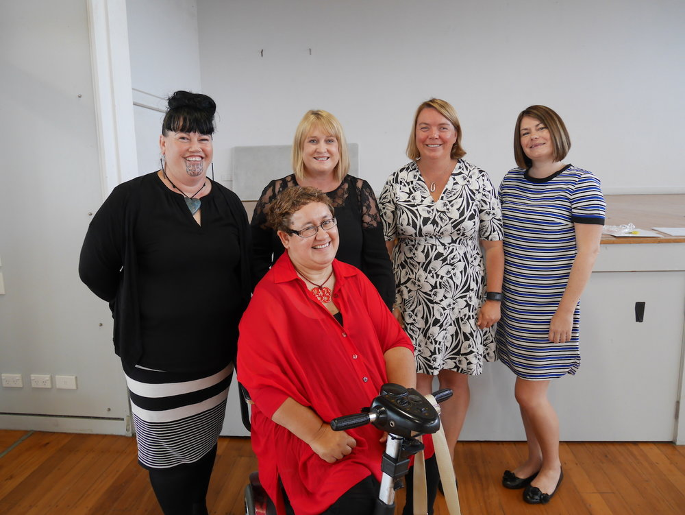 Hei Whakapiki Mauri Kaiwhakahaere Ruth (front) and Navigator Waikura (back left) with Donna from Canterbury Down Syndrome Association, Sacha O'Dea - Programme Lead for System Transformation and Laura from Parent to Parent Greater Canterbury at our recent Systems Transformation Hui for whānau.