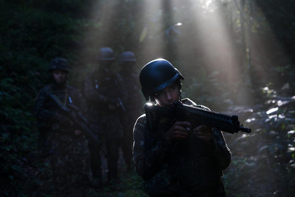 Soldiers patrol during an operation in Babilônia and Chapéu Mangueira Thursday, June 21st, 2018 in Rio de Janeiro, Brasil.