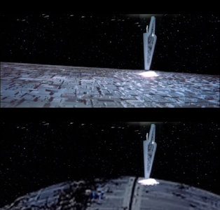 Images comparing destruction of the Super Star Destroyer  Executor  after colliding with 900km DS2 ( Return of the Jedi ) vs 160km DS2. Source of 160km DS2 image cited at the end of the article.