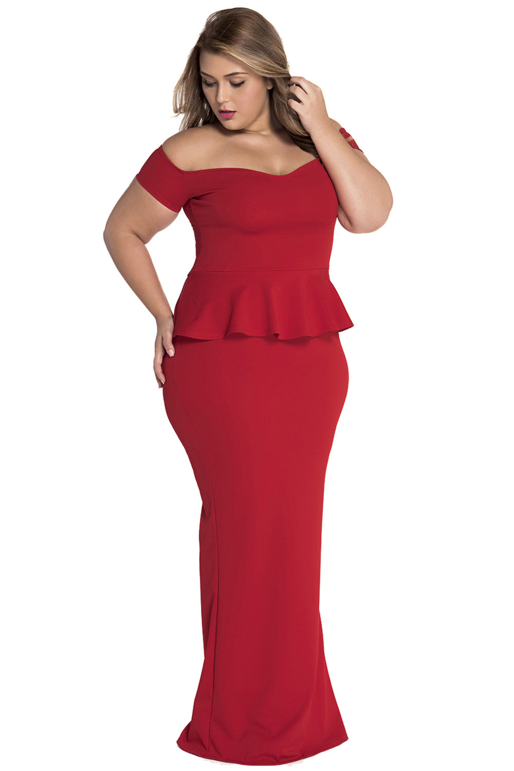 Jas Fashion-Shadow\'s Delight Off Shoulder Peplum Dress