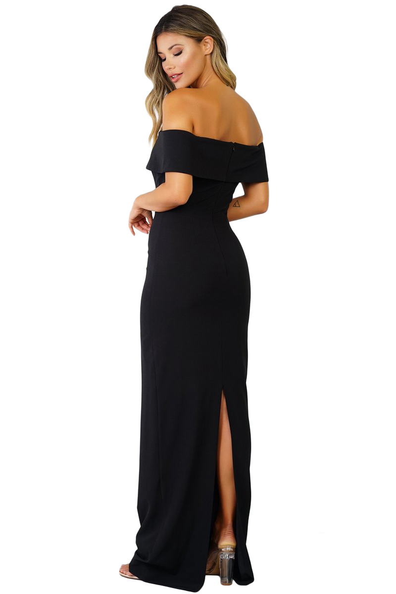 Jas Fashion-Mood Stone Off Shoulder Evening Dress