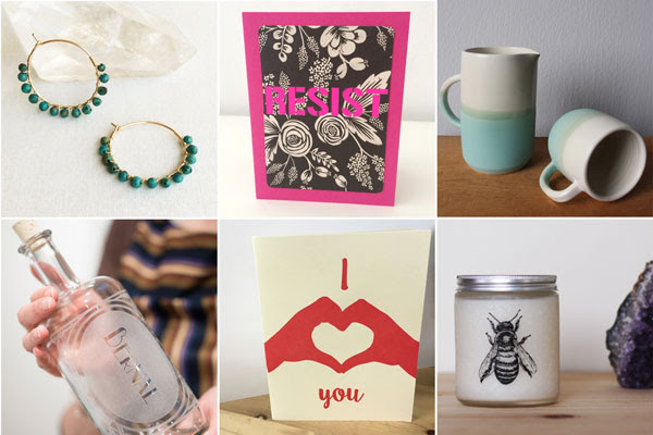 Earrings by S is for Sparkle | RESIST card by Hello Sisters | ceramics by Alexandra Barao   Bernal decanter by Reclamation Etchworks | love card by Coffee n Cream | bee candle by Glint