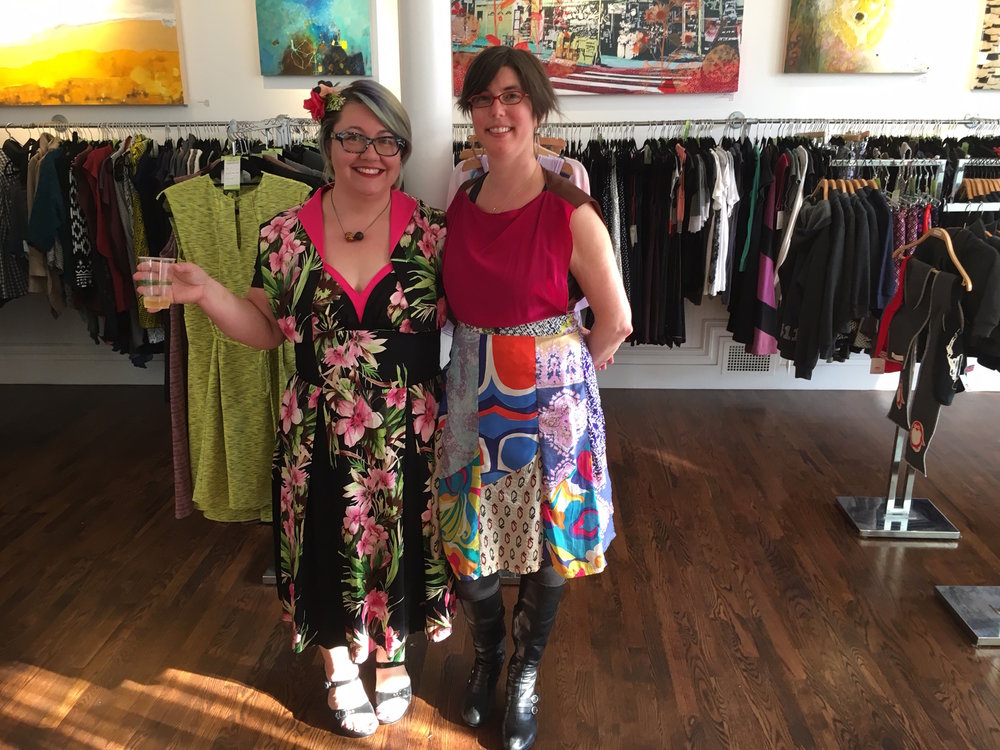 In-house artist & designer Heather Robinson celebrating with owner & curator Eden Stein