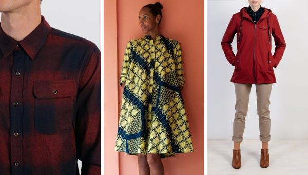 Button-up by Bridge & Burn, dress by Zuri, waterproof jacket by Bridge & Burn