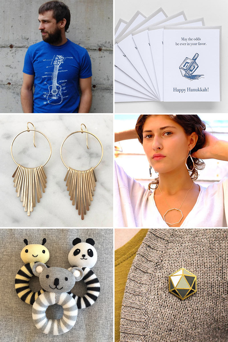 T-shirt by Slow Loris, cards by Good Juju Ink Earrings by Diana O'Connor, jewelry by Swing  Baby rattles by Eden & Zoe, enamel pin by Shannon May