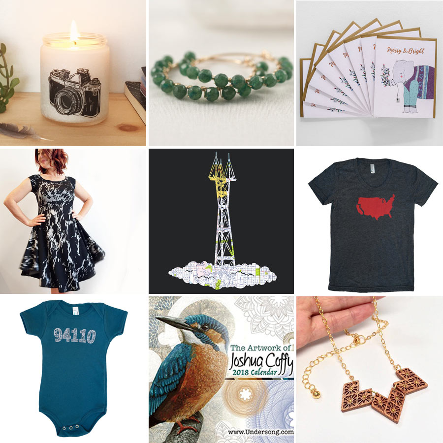 Candle by Glint, earrings by S is for Sparkle, cards by Good Juju Dress by Mahoohoo, print by Granny Panty Designs, t-shirt by Mission Thread Onesie by Five Digit Designs, calendar by Josh Coffy, necklace by Wenwen
