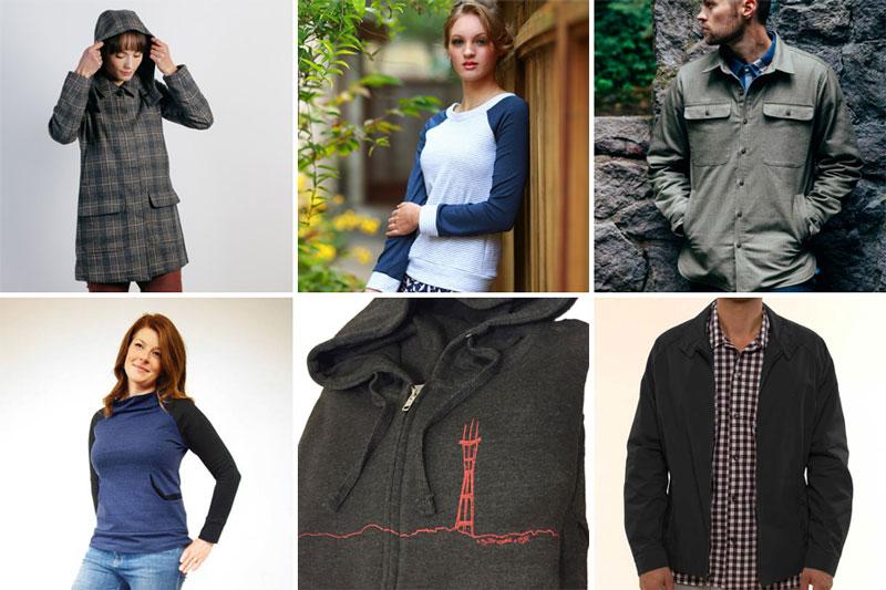 Coat by Bridge & Burn, top by Theia Grazi, overshirt by Bridge & Burn Sweatshirt by Mahoohoo, hoodie by New Skool, jacket by Mr California