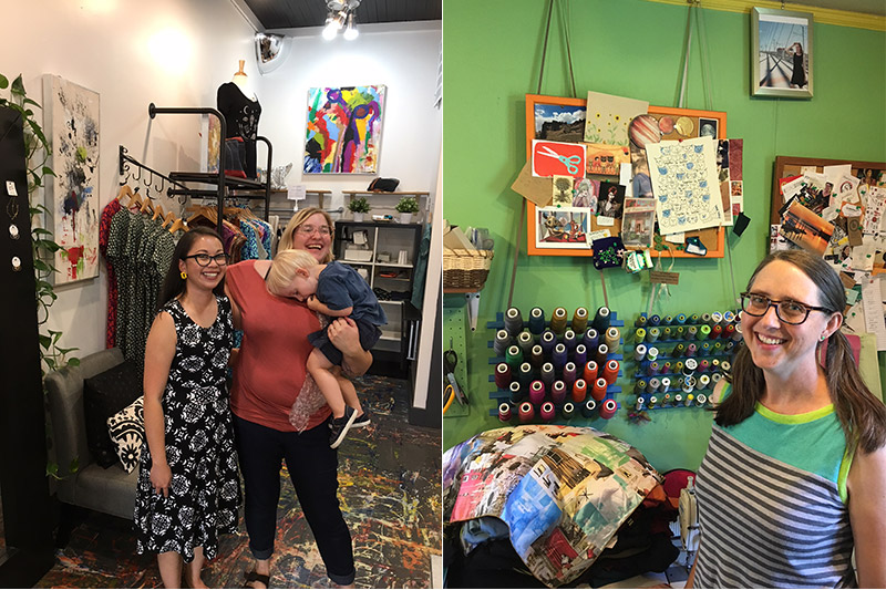 l: Diana Schreiber of Moss Handmade and Rita Hudson of Union Rose r: Amy Daileda of Vivid Element in her studio