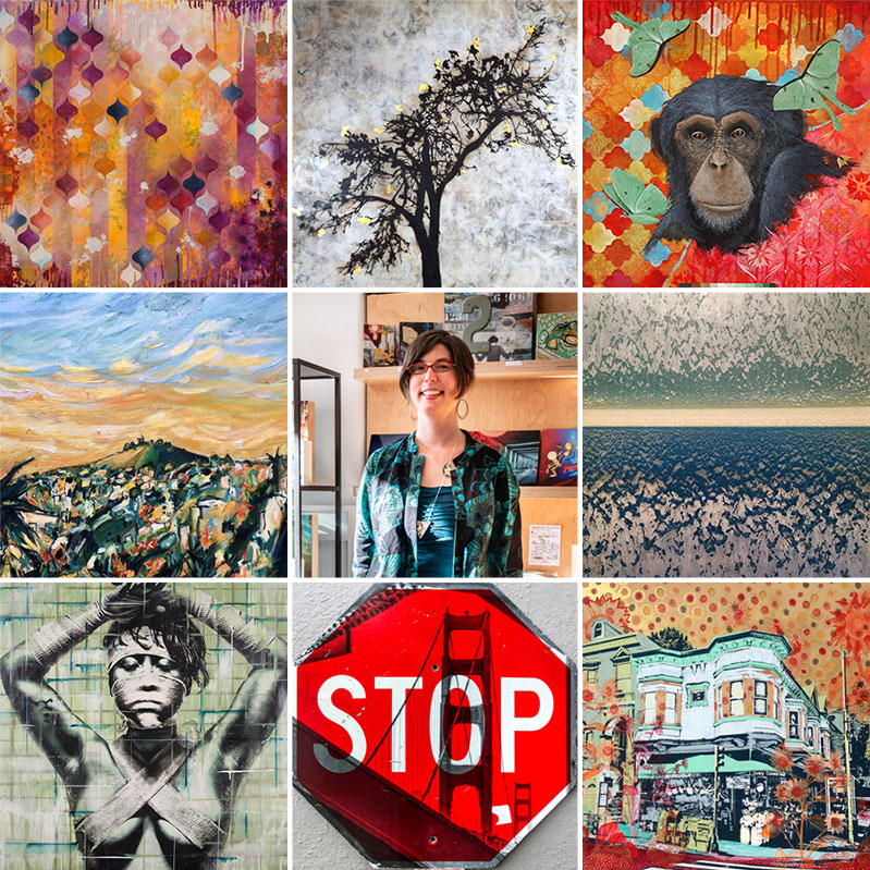 Top to bottom, left to right:  Heather Robinson ,  Shannon Amidon ,  Josh Coffy   Rachel Znerold , our curator Eden (not for sale),  Robin Denevan   Eddie Colla ,  Scott Fin ,  Hilary Williams