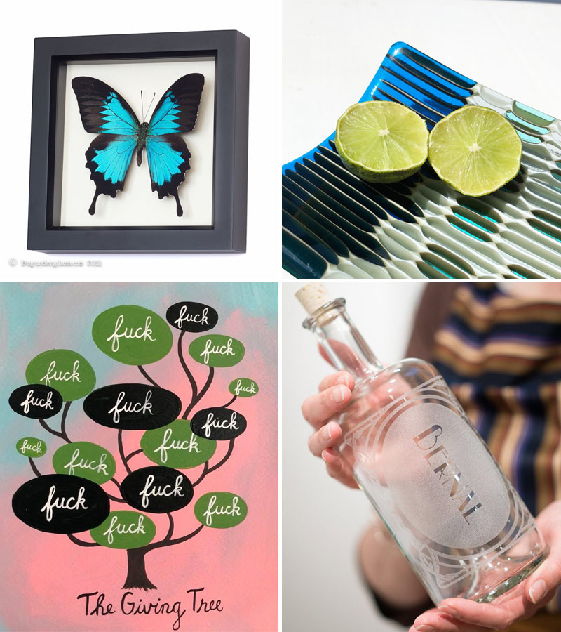 Butterfly art by Bug Under Glass, honeycomb glass tray by Glass Affairs Giving Tree print by Annie Galvin, Bernal bottle by Reclamation Etchworks