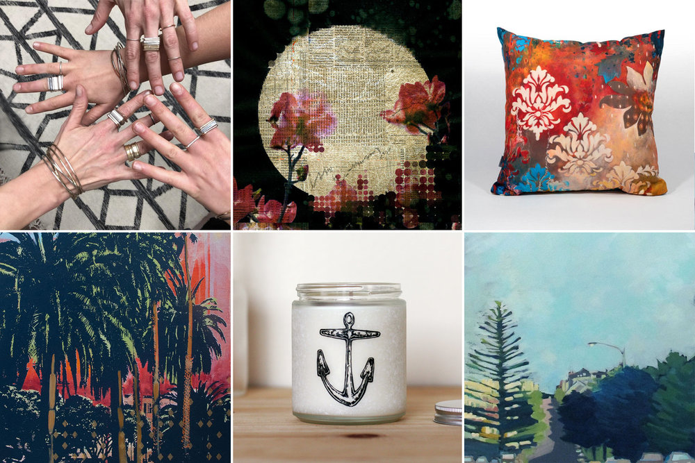 Jewelry by Colleen Mauer, art by Phillip Hua, art pillow by Heather Robinson art by Hilary Williams, candle by Glint, art by Colette Hannahan