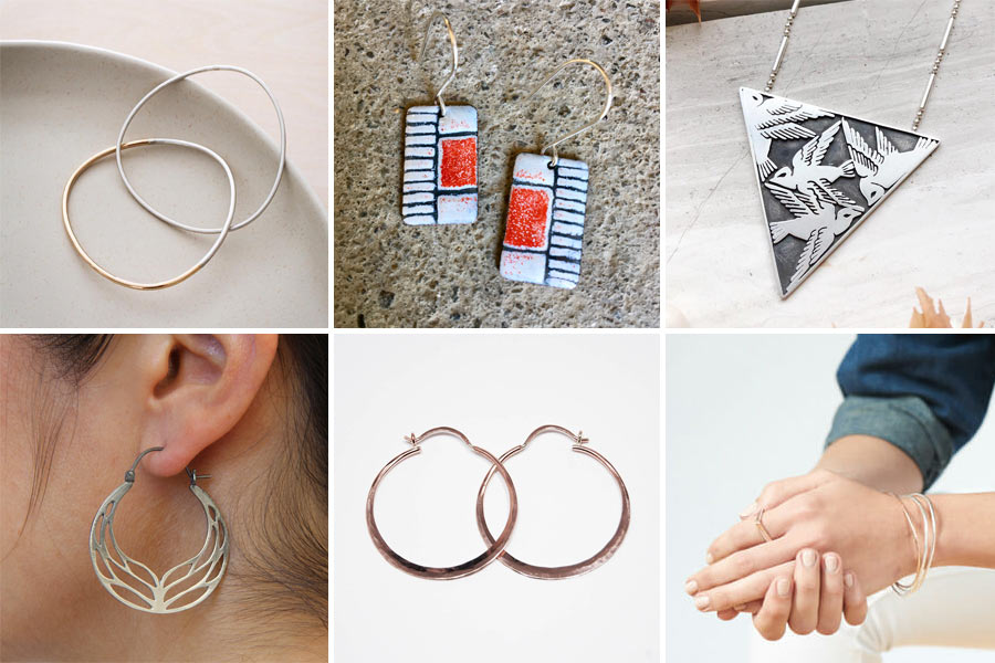 Interlocking bracelets by Colleen Mauer, earrings by Iris Willow, necklace by Tess Young  Earrings by Luana Coonen, hoops by Tess Young, jewelry by Colleen Mauer