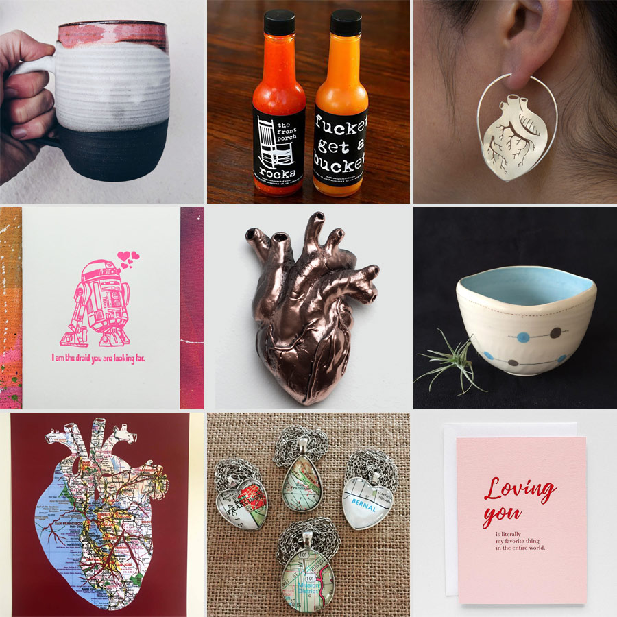 Mug by Erin Hupp Ceramics, hot sauce by The Front Porch, earrings by Luana Coonen Card by Coffee n Cream Press, resin heart by Shane Izykowski, cup by Tomoko Ceramics Heart by Granny Panty Designs, pendants by The Weekend Store, Card by Good Juju Ink