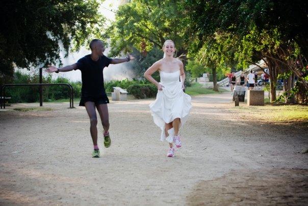Megan running in her wedding dress in 2008.