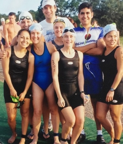 Danskin Triathalon 2001. Back row L to R: Anjanette Gonzales, Chris Fields, Albert Saenz. First row L to R: Dominque Sanchez, Deb Giles, Anita Boyle, Maeve Magner, Leslie Asaka