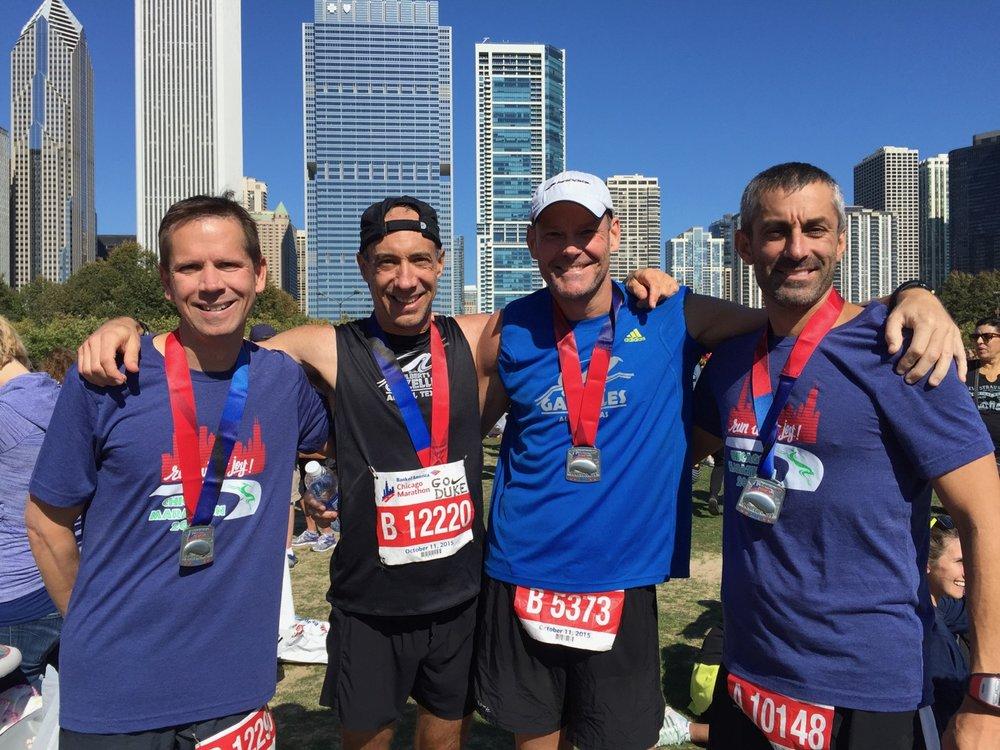 Scott (left) and his running buddies in Chicago, 2015