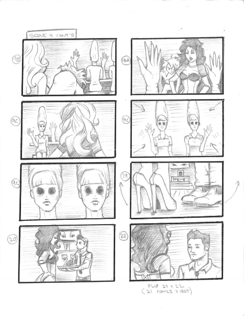 Children of the Popcorn.  short film storyboards. Pencil on paper.