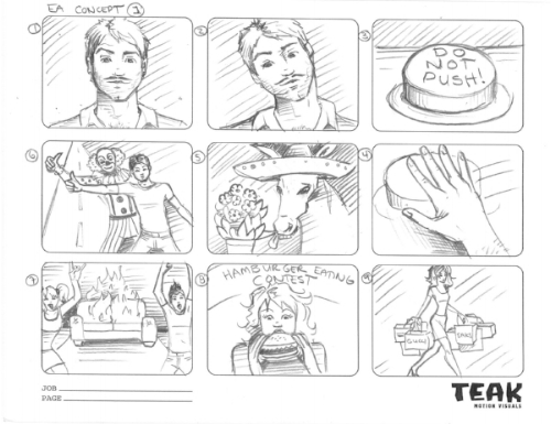 ea SIMS 3. production storyboards. Pencil on paper.
